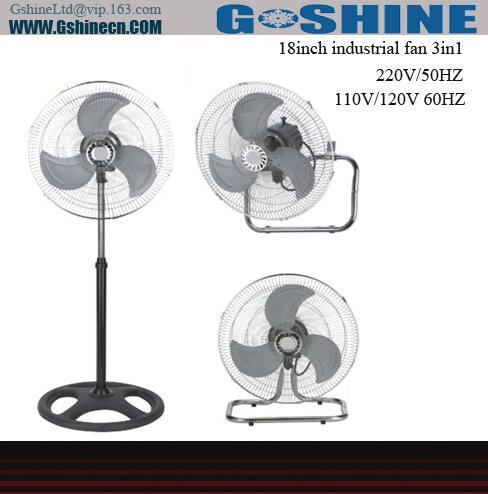 شراء Gshine .Made in china 18inch electrical stand metal industrial 3in1 fan IDF-18 series
