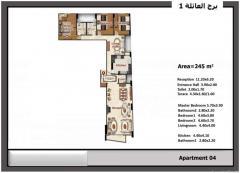للبيع شقة 245م ناصية شارع شعراوى مع شارع ابو قير