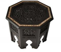 Moroccan Key Coffee Side Table, mashrabiya artwork