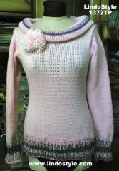 1372TP Pink Lines Pullover