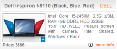 Dell Inspiron N5110 (Black, Blue, Red)